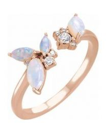 14k Rose Gold Australian Opal & 1/10 CTW Diamond Negative Space Ring - Size 7