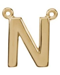 14k Yellow Gold Letter 'N' Block Initial Necklace Center