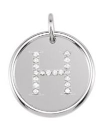 Sterling Silver 1/10 CTW Diamond Initial 'H' Necklace