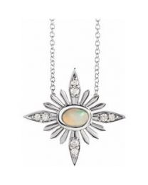 Sterling Silver Ethiopian Opal & .08 CTW Diamond Celestial 16-18' Necklace