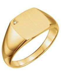 14k Yellow Gold .0075 CTW Diamond Men's Signet Ring - Size 11