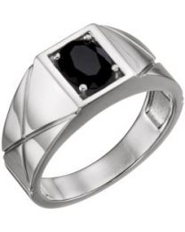 14k White Gold Onyx Men's Ring - Size 11
