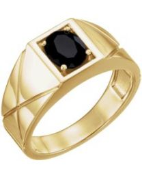 14k Yellow Gold Onyx Men's Ring - Size 11