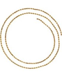 14k Yellow Gold 1.9mm Diamond-Cut Rope 16' Chain with Lobster Clasp