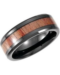 Cobalt 8mm Design Band with Rosewood Inlay - Size 12.5 in Cobalt