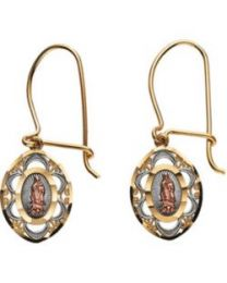 14k Yellow Gold & Rose 30x9.5mm Oval Our Lady of Guadalupe Earrings