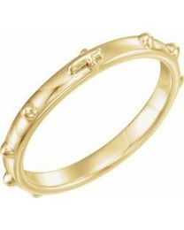 18k Yellow Gold Rosary Ring - Size 8