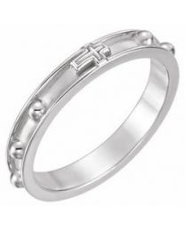 Sterling Silver Rosary Ring - Size 10