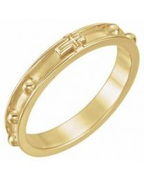 18k Yellow Gold Rosary Ring - Size 9