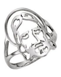 Sterling Silver Face of Jesus Men's Ring - Size 8