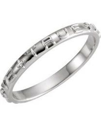 Sterling Silver True Love Chastity Ring - Size 6