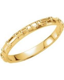 10k Yellow Gold Jesus I Trust in You Prayer Ring - Size 4