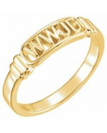 10k Yellow Gold What Would Jesus Do Ring - Size 4