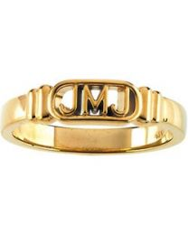 10k Yellow Gold Jesus; Mary and Joseph Ring - Size 4