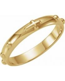 14k Yellow Gold Rosary Ring - Size 10