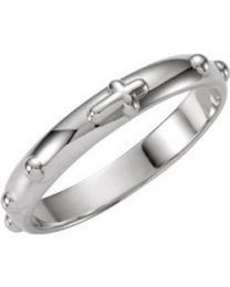 14k White Gold Rosary Ring - Size 11
