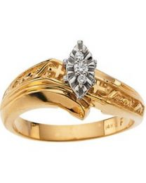 14k Yellow Gold .05 CTW Diamond Cross Engagement Ring - Size 6