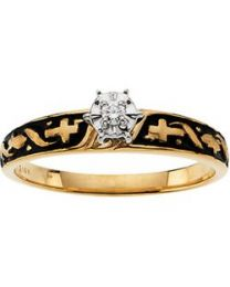 14k Yellow Gold/White .03 CT Diamond Solitaire Cross Engagement Ring - Size 6