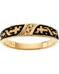 14k Yellow Gold .02 CTW Diamond Men's Cross Band - Size 11