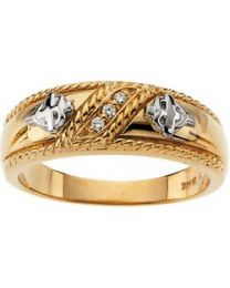 R16652D Gents Band with Diamonds in 14k Yellow Gold - Size 11