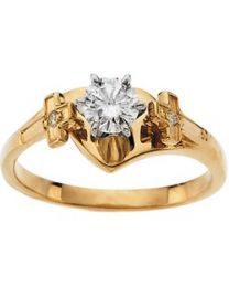Diamond Religious Engagement Ring in 14k Yellow Gold - Size 7