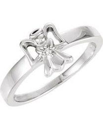 14k White Gold .005 CT Diamond Youth Angel Ring - Size 7