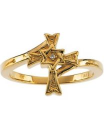 14k Yellow Gold .004 CT Diamond Star of David Cross Ring - Size 7