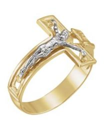 Men's Crucifix Ring in Two-Tone 14k White & Yellow Gold - Size 11