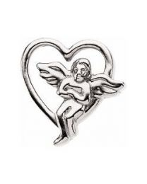 Sterling Silver 9x9mm Heart with Angel Lapel Pin