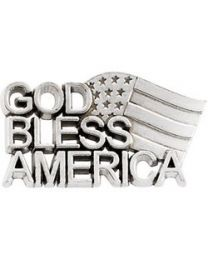 Sterling Silver 20.5x11.5mm God Bless America Lapel Pin