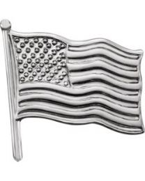 14k White Gold 14.5x14mm American Flag Lapel Pin