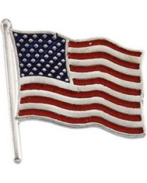 14k White Gold 17.5x17mm American Flag Lapel Pin