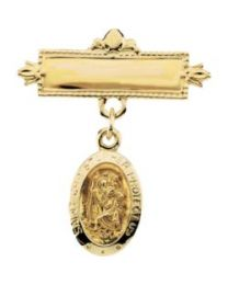 14k Yellow Gold St. Christopher Baptismal Pin