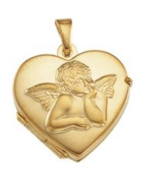 14k Yellow Gold 17.5x18.5mm Heart Angel Locket
