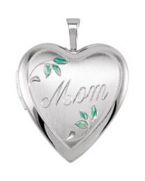 Sterling Silver 21x19.25mm Heart Mom Locket with Color