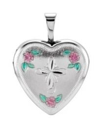 Sterling Silver 15.75mm Tri-Color Cross & Roses Locket