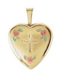 14k Yellow Gold 15.75mm Tri-Color Cross & Roses Locket