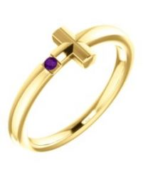 14k Yellow Gold Amethyst Youth Cross Ring - Size 3