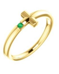 14k Yellow Gold Chatham Lab-Grown Emerald Youth Cross Ring - Size 3