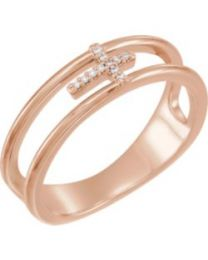 14k Rose Gold .03 CTW Diamond Negative Space Cross Ring - Size 7