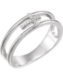 Sterling Silver .03 CTW Diamond Negative Space Cross Ring - Size 7