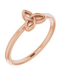 14k Rose Gold Stackable Celtic-Inspired Trinity Ring - Size 7