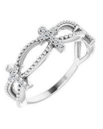 14k White Gold .08 CTW Diamond Stackable Cross Ring - Size 7