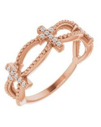 14k Rose Gold .08 CTW Diamond Stackable Cross Ring - Size 7