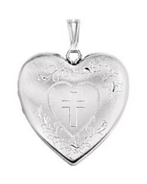 Heart Locket with Cross in Sterling Silver