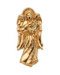14k Yellow Gold 14x6mm Angel with Harp Lapel Pin