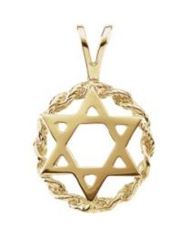 14k Yellow Gold 20x13mm Star of David Pendant