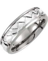 Titanium & Sterling Silver Inlay 7mm Woven Band - Size 12.5