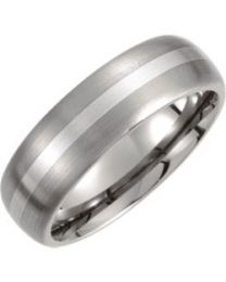Titanium & Sterling Silver Inlay 7mm Satin Finish Domed Band - Size 9.5