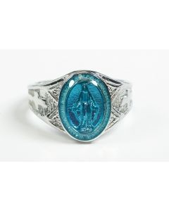 Sterling Silver Miraculous Medal Mens Ring w/ Blue Epoxy  - Size 9